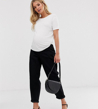 Asos DESIGN Maternity tapered boyfriend jeans with curved seams in clean black with concealed bump waistband