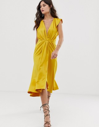 Asos DESIGN knot front plunge midi dress with ruffle sleeve and open back in satin