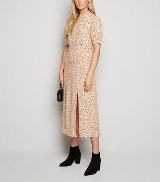 New Look Tall Camel Spot Side Split Midi Dress