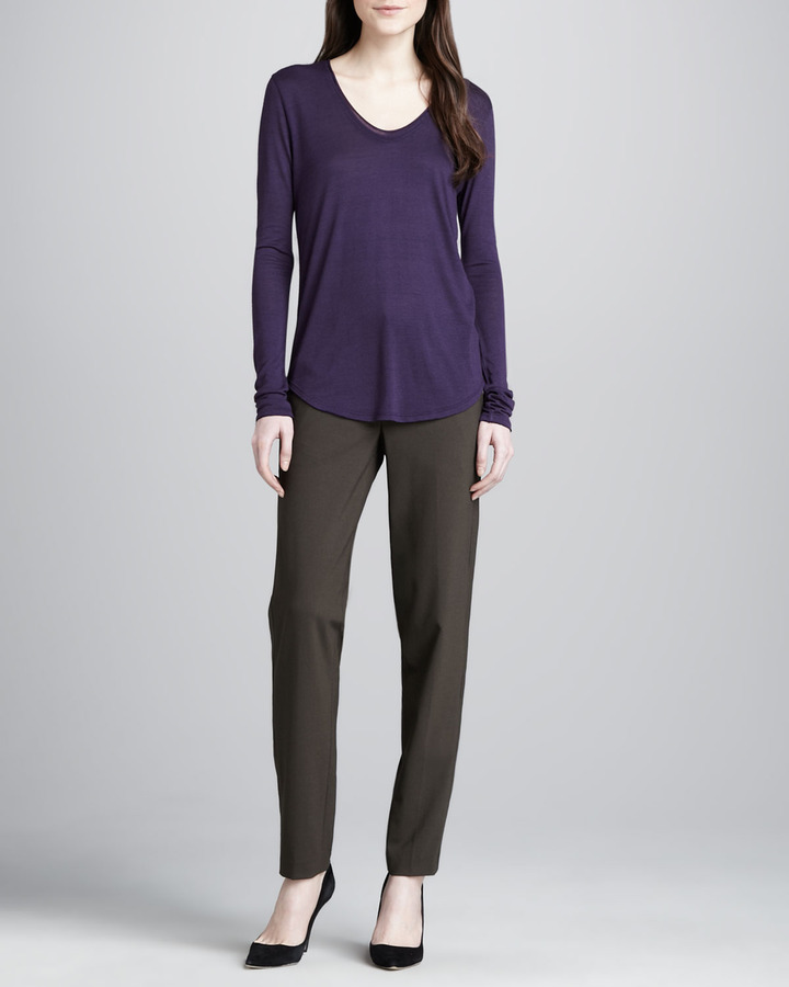 Vince Relaxed Stretch-Wool Trousers, Fatigue