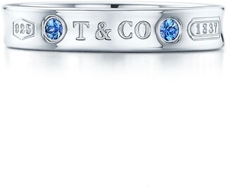 Tiffany & Co. 1837TM Ring in Silver with Montana Sapphires, Narrow