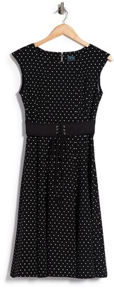 Gabby Skye Polka Dot Waist Tie Fit & Flare Dress
