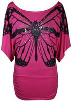 GirlzWalk ® Women Glitter Butterfly Print Batwing Short Sleeve Top