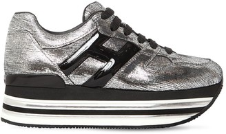 Hogan 70MM MAXI 222 LAME LEATHER SNEAKERS