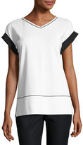 Lafayette 148 New York Short-Sleeve Contrast-Trim Punto Milano Top, White/Black