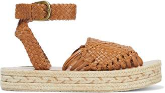 Zimmermann Woven Leather Platform Espadrille Sandals