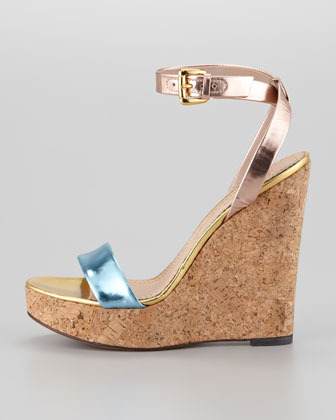 Jean-Michel Cazabat Wooster Mirrored Leather and Cork Wedge Sandal