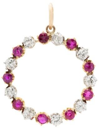 Stephanie Windsor Edwardian 15K Yellow Gold, Diamond & Ruby Infinity Circle Pendant