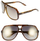 Gucci Men's Logo Temple 63Mm Aviator Sunglasses - Havana/ Gold Mirror
