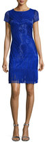 Aidan Mattox Short-Sleeve Beaded Fringe-Trim Cocktail Dress, Cobalt