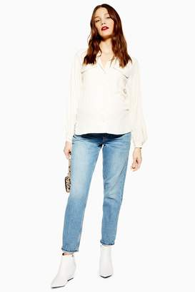 Topshop Womens **Maternity Mom Jeans - Bleach Stone