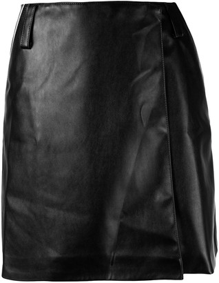 Walk of Shame Faux-Leather Wrap Skirt