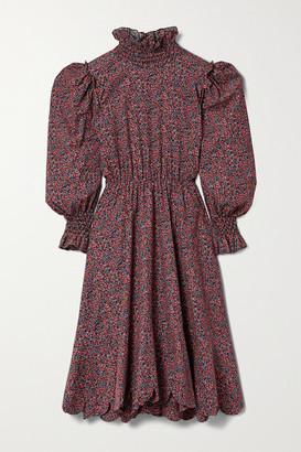 Horror Vacui Collia Scalloped Floral-print Cotton-corduroy Midi Dress - Burgundy