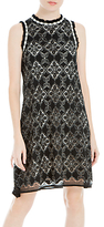 Max Studio Sleeveless Corded Lace Dress, Black/Cream