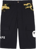 A Bathing Ape Ape camouflage-trim long cotton shorts 4-8 years
