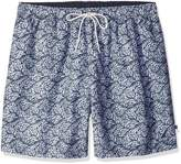 Nautica Men's 17-Inch Full Elastic Leaves Print Trunk