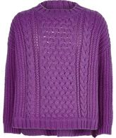River Island Girls purple cable knit top