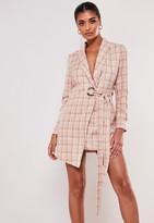 Missguided Petite Pink Check Tie Side Blazer Dress