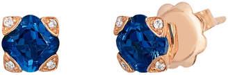 LeVian Le Vian 14K Rose Gold 1.23 Ct. Tw. Diamond & Blue Topaz Studs