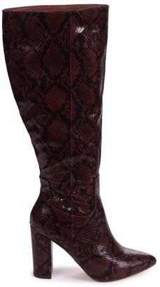 Linzi DIONNE - Brown Snake Print Cowboy Style Block Heel Long Boot