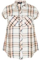 Yours Clothing YoursClothing Plus Size Womens Pastel Checked Shirt Short Grown-on Sleeves