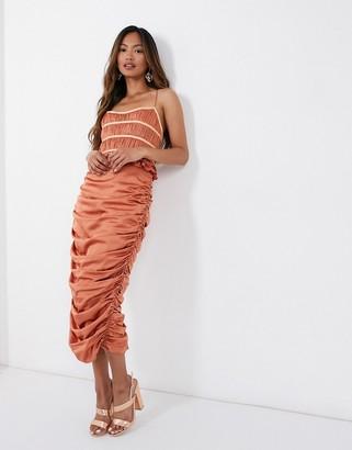 ASOS DESIGN corset pleat bodice satin midi dress with drape skirt