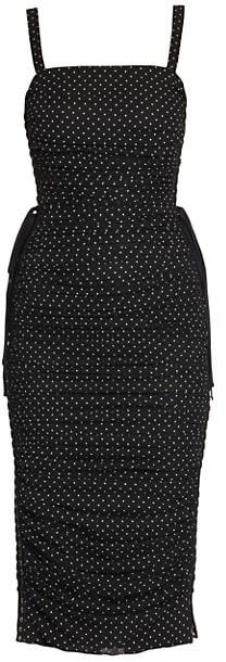Dolce & Gabbana Sleeveless Dotted Lace-Up Chiffon Midi Dress
