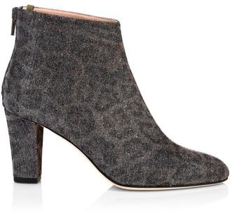 Sarah Jessica Parker Minnie Leopard-Print Glitter Ankle Boots