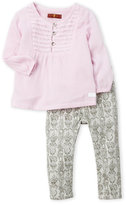 7 For All Mankind Toddler Girls) Two-Piece Pintuck Blouse & Pants Set