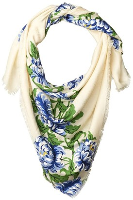 Tory Burch Floral Cloud Logo Jacquard Traveler Scarf (New Ivory) Scarves