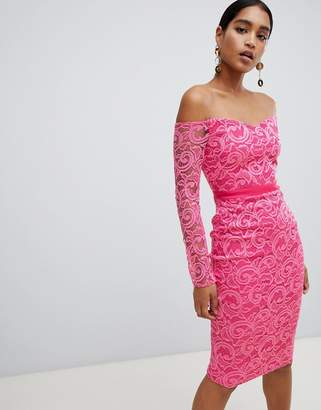 Vesper lace boat neck long sleeve pencil dress-Pink