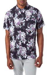 7 Diamonds Slim Fit Floral Short Sleeve Button-Up Sport Shirt