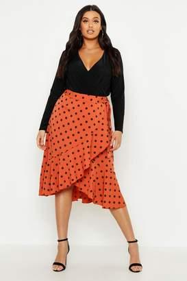 boohoo Plus Polka Dot Ruffle Midi Skirt
