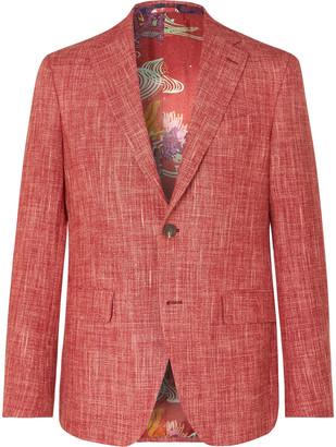Etro Brick Slim-Fit Melange Wool-Blend Blazer