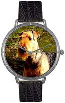 Whimsical Watches Women's T0130079Airedale Terrier Black Leather And Silvertone Photo Watch