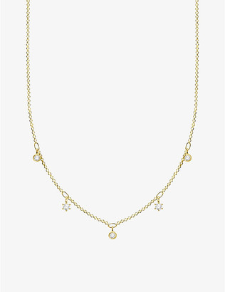 Thomas Sabo Zirconia-detail 18ct yellow gold-plated sterling silver necklace