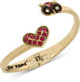 Betsey Johnson Gold-Tone Pink Pavé Heart and Owl Hinged Open Bangle Bracelet