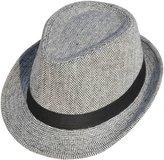 Simplicity Men Women Chevron Print Felt Hat Trilby Wool Fedora Cap,2_Black/white