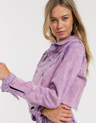 Urban Bliss cropped denim jacket in overdyed purple