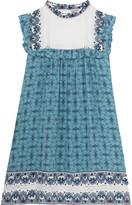 Sea Victoria Crochet-trimmed Printed Silk Mini Dress - Blue