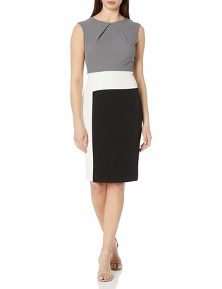Sandra Darren Women's 1 Pc Extended Shoulder Jacquard Crepe Color Block Dress White/Black 16