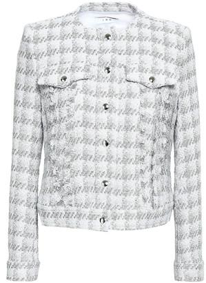 IRO Quilombe Frayed Checked Metallic Tweed Jacket