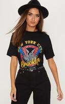 Top Black Brooklyn Printed Oversized T shirt
