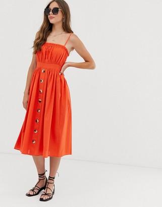 Asos Design DESIGN cami button through midi linen sundress