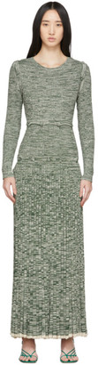 CHRISTOPHER ESBER Green and White Deconstruct Long Sleeve Dress