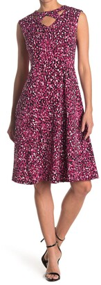 London Times Festive Dot Print Cutout Jersey Fit & Flare Dress