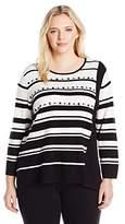 Alfred Dunner Women's Striped Assymetrical Hem Sweater