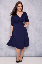 Yours Clothing SCARLETT & JO Blue Wrap Dress With Jewel Embellishment Detail