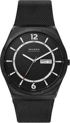 Skagen Men Melbye Black Stainless Steel Mesh Bracelet Watch 45mm