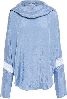 Nina Ricci Lace-paneled Crinkled-satin Hooded Top